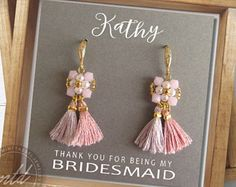 Small tassel earrings Boho bridesmaid earrings Gift for her
