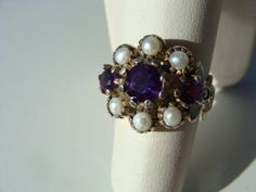 Reproduction Vintage Victorian Ring With Natural Amethysts  Cultured Pearls