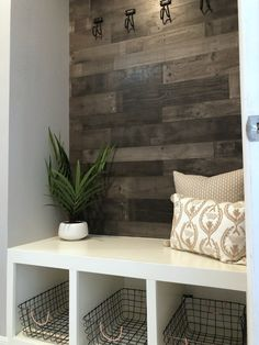 DIY Mudroom with Built-In Bench - Frills and Drills Mudroom Storage Bench, Bench With Storage, Cubby Storage, Entryway Bench, Mudroom Benches, Built In Bench, Faux Wood Wall, Wood Panel Walls, Home Remodeling