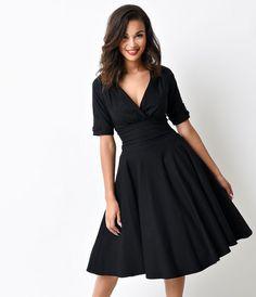 35c72bc1703c $88 Unique Vintage 1950s Style Black Delores Sleeved Swing Dress Retro 50,  Retro Dress,