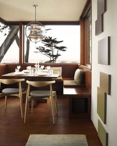 Carmel Residence, California, by Dirk Denison Architects | Simple wood booth with a view. Cozy.