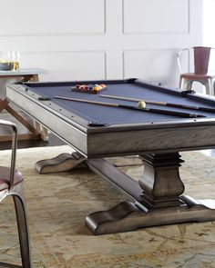 Huntley Pool Table (Gray/Slate Blue) l Recreation Game Rooms l www.DreamBuildersOBX.com