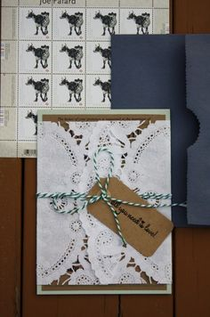 Modern vintage DIY wedding invitation set. Doily, Kraft paper, bakers twine