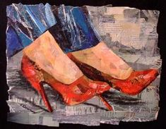 Eileen Downes artist collage red heels shoes torn paper painting