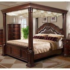 Tabasco Cherry Queen Canopy BedCastillo De Cullera Cherry Queen Size Canopy Bedroom Set   Canopy  . Queen Canopy Bedroom Sets. Home Design Ideas
