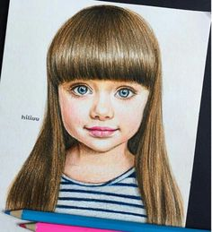 a cute drawing of a child(baby girl) instagram:@?hiliuu she has amazing drawings!