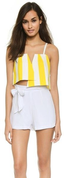 Jacquemus Two Triangles Striped Crop Top #yellow #white #shorts #crop #fashion #stripes