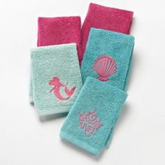 Disney Little Mermaid Shimmer & Gleam Washcloths. Multi/none. Bath accessories at Kohl's. Shop our entire selection of bath essentials, including these Disney Little Mermaid Washcloths, at Kohls. Little Mermaid Bathroom, Disney Bathroom, Mermaid Bedroom, Girl Bathrooms, Bathroom Kids, Bathroom Plants, Disney Little Mermaids, Ariel The Little Mermaid, Bath Girls