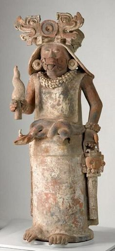 Mayan Maize God Figure Burial Urn Painted Clay Deity