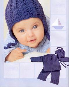 Жакет, штанишки и шапочка синего цвета