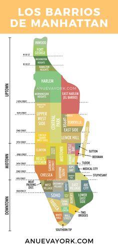 Mapa de los barrios de Manhattan. Todos los barrios que encontrarás en Downtown, Midtown y Uptown. #NuevaYork