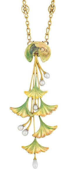 Lucien Gaillard 1900 'Art Nouveau' 18k Gold, Enamel, Pearl Pendant-Brooch with Chain Necklace: the chain composed of oval links spaced by circle links centering stylised bows, suspending a pendant surmounted by a lily pad, supporting long gold stems tipped by bell-shaped flowers applied w/iridescent green, yellow & pink enamel, the shorter stems tipped by 6 pearls, signed L Gaillard, w/FR assay mark, chain detachable