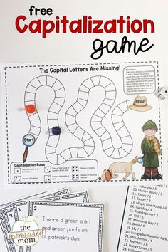 Teach capitalization rules with this simple activity from The Measured Mom for kids in first, second, and third grade. This free game is engaging and fun. Punctuation Activities, Grammar Games, Letter Activities, Writing Activities, English Activities, Free Teaching Resources, Writing Resources, Teaching Writing, Writing Strategies