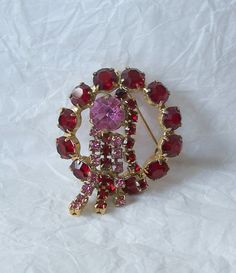 Vintage Red and Pink Rhinestone Circle Pin by MargsMostlyVintage, $20.00