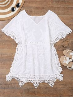 Open Side Beach Kaftan Cover Up Dress - WHITE ONE SIZE