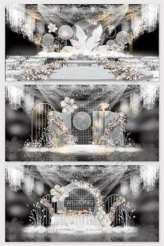 Modern senior grey wedding effect picture Wedding Backdrop Design, Wedding Stage Design, Wedding Hall Decorations, Backdrop Decorations, Wedding Designs, Wedding Backdrops, Ceremony Backdrop, Simple Wedding Reception, Wedding Aisles