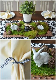 Spring Table Setting using black, white and natural elements.