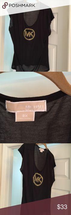 AUTH MICHAEL KORS BLACK W/GOLD LOGO TOP Brand New MICHAEL Michael Kors Tops Tees - Short Sleeve