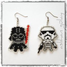 May the Force Be With You.. #starwars #beadedearrings #miyuki #handmadejewelry