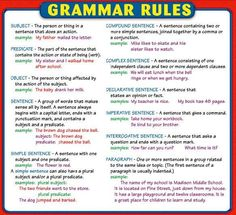 What are the basics of English grammar? English Grammar Rules, Grammar And Punctuation, Learn English Grammar, Teaching Grammar, Grammar Lessons, English Language Learning, English Writing, Teaching Writing, English Words