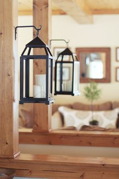 Nestled:love this idea of hanging lanterns with flameless candles