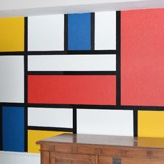 Bring art into your home in a big way with this Mondrian inspired wall mural!