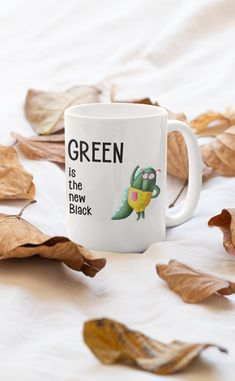 Green is the new Black Mug.  Features wraparound prints Dishwasher safe Made from ceramic Mug holds 11oz (325ml) Animal Design, Wraparound, Funny Animals, Dishwasher, Ceramics, Mugs, Tableware, Green, Prints