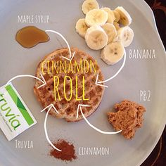 Slenderized cinnamon roll using 1 Van's gluten free frozen waffle. Prepare #PB2 with maple syrup, 1 packet #truvia and cinnamon. Spread on the waffle and top with slices of banana.