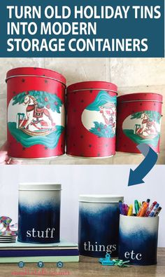 Check out this thrift store upcycle! Spray paint old holiday cookie tins and turn them into modern ombre storage containers. Such a cute diy storage idea! #upcycle #thriftstorediy #thrift