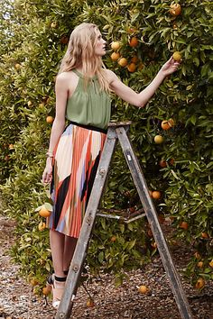 Pleated Colorblock Skirt