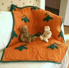 Knitting Pattern–Pumpkin Patch Baby Blanket, knit afghan pattern, knit baby blanket pattern, Eco+, Halloween, baby shower gift, PDF pattern