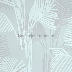 Palm leaves greyblue behang 218192 uit de collectie Hej 2016  BN Wallcoverings is verkrijgbaar bij kleurmijninterieur