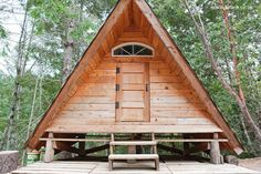 Micro A-frame Cabin Vacation Rental for Glamping - Tiny House Pins Cabin Design, Roof Design, Rustic Design, A Frame Cabin, A Frame House, Glamping, Off Grid Cabin, Cabin In The Woods, Tiny Cabins