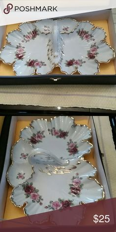 Porcelain Dish Tray with Handle Intricate German floral design with gold trim. Other