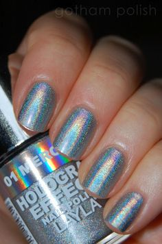 Nail Polish of the Moment: Layla Hologram Mercury Twilight. Pro Tip: Be sure to use a good base coat or silver foil polish underneath. Don't forget to seal the actual polish with a top coat.