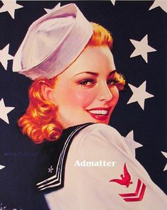Patriotic Red Head Pin-up Navy Girl  by Victor Tuetchet