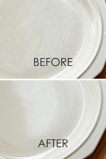 using Bar Keeper's Friend to remove grey scratch marks on white dishes.  If it's fine china, a 24 hour soak in milk will remove scratches and even heal up small cracks.