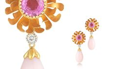 Flora Pink Sapphire and Pink Opal Drop Earrings, McTeigue and McClelland