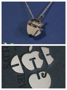 Apple Puzzle Silver Pendant Its beauty and original design I want one of this! Metal Clay Jewelry, Jewelry Tools, Sea Glass Jewelry, Jewelry Crafts, Jewelry Art, Silver Jewelry, Jewelry Accessories, Jewelry Design, Jewelry Making