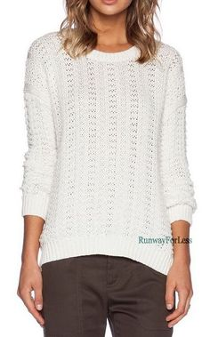 New $395 Vince Womens Large Mercerized Cable Knit Textured Ivory Sweater Top #Vince #Textured #Cable #Knit #Sweater #mercerized #Crewneck #Top