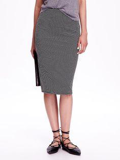 Jacquard-Patterned Midi Pencil Skirt Product Image