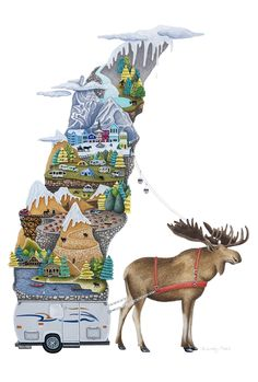 """Moose Mountain"" Gouache on paper by Brandy Masch Amazing Paintings, Children's Book Illustration, Illustrations, Unique Presents, Gouache, Folk Art, Camel, Moose Art, Mountain"