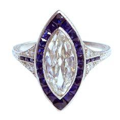 1STDIBS.COM Jewelry & Watches - Edwardian Marquise Diamond Sapphire Edged Ring - Sandra Cronan LTD