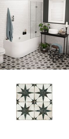 Create a statement floor in your bathroom, kitchen, hallway or lounge with these striking Scintilla Black Tiles. They have a vintage monochrome design, with aged-effect black and white star shaped patterns. Made from durable ceramic, these tiles have a matt finish with a grid scored into the surface, which you grout into. They're perfect for creating a vintage scheme in an interior space.