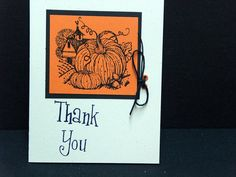 Thank you card hand made for Fall with by TheLanguageofPaper, $4.50