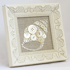Framed Button Art  Seashell  Handmade by PaintedWithButtons