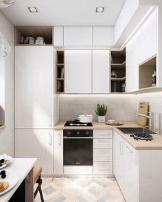 Kitchen decor, kitchen cabinets, kitchen organization, kitchen organizations and of course. The kitchen is the center of the home, so it's important to have a space you love! These pins are my favorite kitchens and kitchen ideas. Small Apartment Kitchen, Home Decor Kitchen, Kitchen Furniture, New Kitchen, Kitchen Interior, Kitchen Ideas, Kitchen Trends, Kitchen Layout, Kitchen Hacks