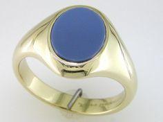 18 Carat Gold Grey Onyx set Signet Ring / Signet Rings / Rings / Jewellery
