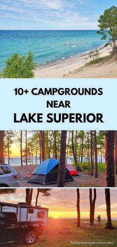 michigan camping ideas. rv camping. tent camping. campground near lake superior beach, great lakes camping. michigan road trip, summer vacation. us outdoor travel destinations with hiking trails nearby. vacation spots, ideas, places in the US. michigan things to do upper peninsula up north. Lake Camping, Camping Spots, Camping Ideas, Tent Camping, Michigan Vacations, Michigan Travel, Camping Michigan, Hiawatha National Forest, Pictured Rocks National Lakeshore