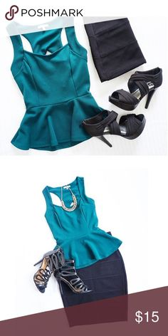 Charlotte Russe Teal Green Peplum Tan Perfect peplum tank from Charlotte Russe 💚 Dark teal base with black cage back & gold zipper! Like new, excellent condition! 😊 Charlotte Russe Tops Tank Tops